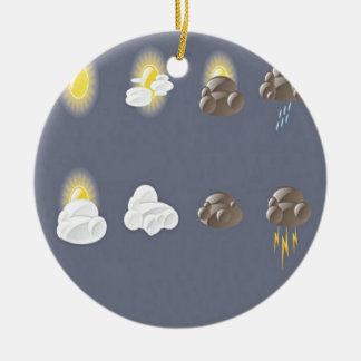 Weather icons design round ceramic ornament