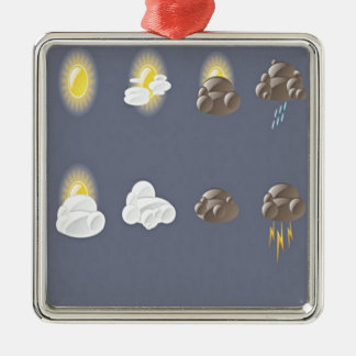 Weather icons design Silver-Colored square ornament
