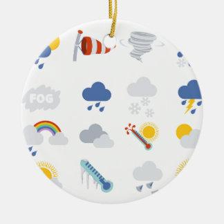 Weather Icons Round Ceramic Ornament