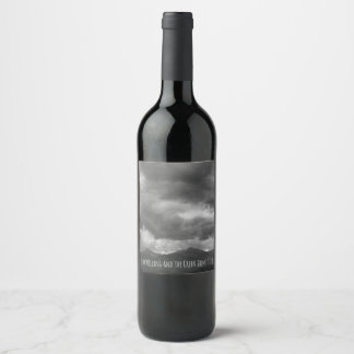 Weather Stormy Clouds Dark Mountain Landscape Wine Label