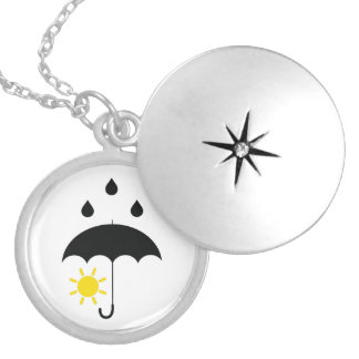 Weather sunny raining day locket necklace