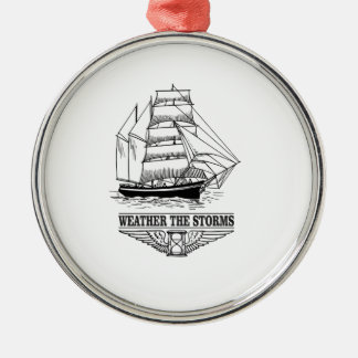 weather the storm glory Silver-Colored round ornament