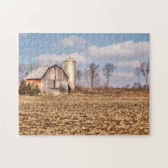 Weathered Barn & Silo in Cornfield Jigsaw Puzzle