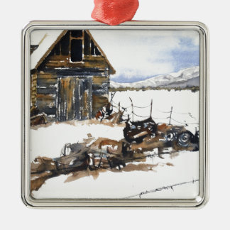 Weathered Barn Silver-Colored Square Ornament