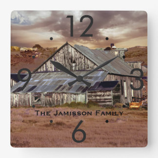 Weathered Barn w/ Storm Clouds Personalized Clock