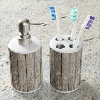 Weathered Barn Wood Soap Dispenser And Toothbrush Holder