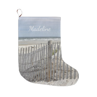 Weathered beach fence and ocean beach large christmas stocking
