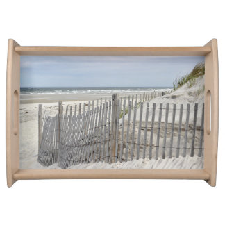 Weathered beach fence and sand dune serving tray