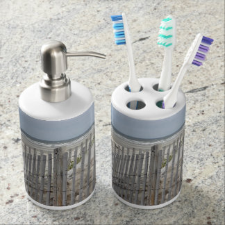 Weathered beach fence and sand dune soap dispenser and toothbrush holder