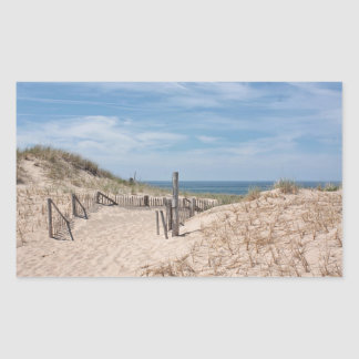Weathered beach fence and sand dunes sticker