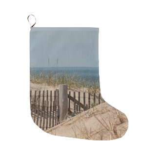 Weathered beach fence in the sand dune on Cape Cod Large Christmas Stocking
