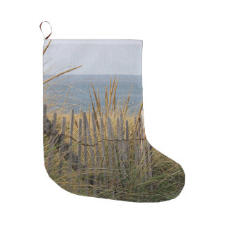 Weathered beach fence in the sand dunes large christmas stocking