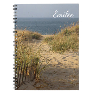 Weathered beach fence in the sand dunes spiral notebook