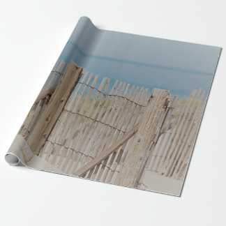 Weathered beach fence wrapping paper
