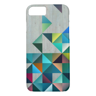 Weathered Blond Wood Colorful Triangles iPhone 7 Case