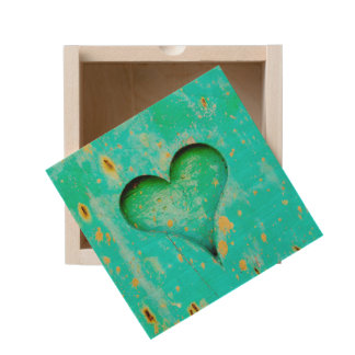 Weathered Blue Peeling Paint Wood Heart Symbol