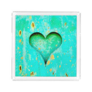 Weathered Blue Peeling Paint Wood Heart Symbol Acrylic Tray