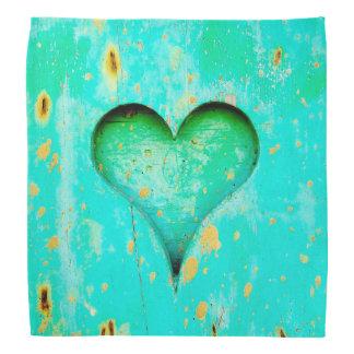 Weathered Blue Peeling Paint Wood Heart Symbol Bandanas