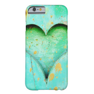 Weathered Blue Peeling Paint Wood Heart Symbol Barely There iPhone 6 Case