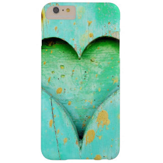 Weathered Blue Peeling Paint Wood Heart Symbol Barely There iPhone 6 Plus Case