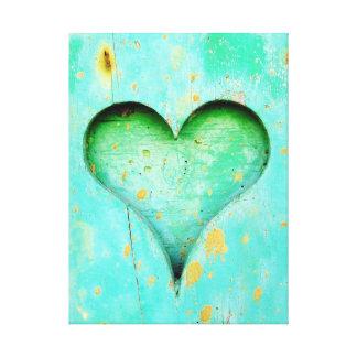 Weathered Blue Peeling Paint Wood Heart Symbol Canvas Print