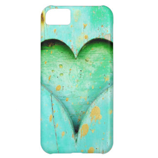 Weathered Blue Peeling Paint Wood Heart Symbol Case For iPhone 5C