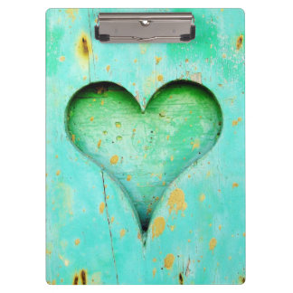 Weathered Blue Peeling Paint Wood Heart Symbol Clipboard
