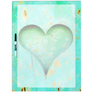 Weathered Blue Peeling Paint Wood Heart Symbol Dry-Erase Board