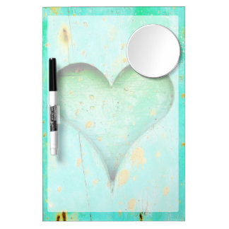 Weathered Blue Peeling Paint Wood Heart Symbol Dry-Erase Boards