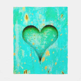 Weathered Blue Peeling Paint Wood Heart Symbol Fleece Blanket
