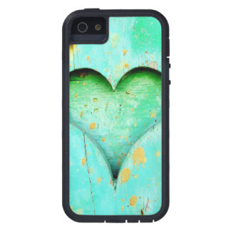 Weathered Blue Peeling Paint Wood Heart Symbol iPhone 5 Covers