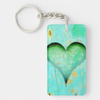 Weathered Blue Peeling Paint Wood Heart Symbol Keychain