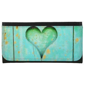 Weathered Blue Peeling Paint Wood Heart Symbol Leather Wallet