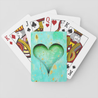 Weathered Blue Peeling Paint Wood Heart Symbol Playing Cards