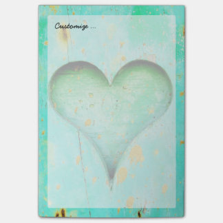 Weathered Blue Peeling Paint Wood Heart Symbol Post-it Notes
