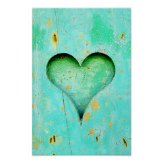 Weathered Blue Peeling Paint Wood Heart Symbol Poster