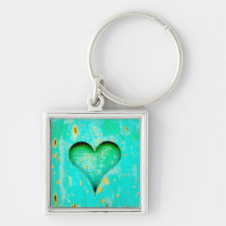 Weathered Blue Peeling Paint Wood Heart Symbol Silver-Colored Square Keychain