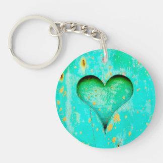 Weathered Blue Peeling Paint Wood Heart Symbol Single-Sided Round Acrylic Keychain