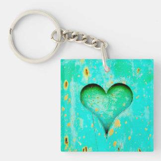 Weathered Blue Peeling Paint Wood Heart Symbol Single-Sided Square Acrylic Keychain