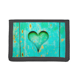 Weathered Blue Peeling Paint Wood Heart Symbol Trifold Wallet