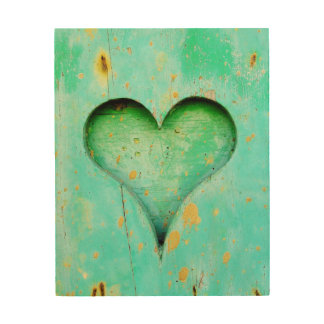 Weathered Blue Peeling Paint Wood Heart Symbol Wood Canvases