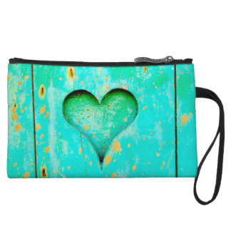 Weathered Blue Peeling Paint Wood Heart Symbol Wristlet