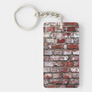 Weathered Brick Wall Pattern Single-Sided Rectangular Acrylic Keychain