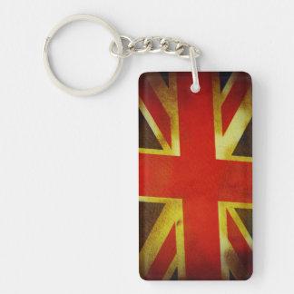 Weathered British Flag Single-Sided Rectangular Acrylic Keychain