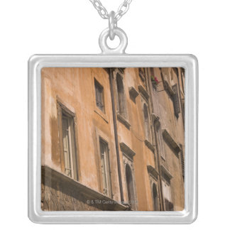 Weathered buildings, Rome, Italy 3 Silver Plated Necklace