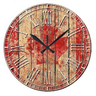 Weathered Canadian Flag Large Clock