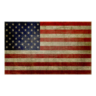 Weathered, distressed American Flag Poster
