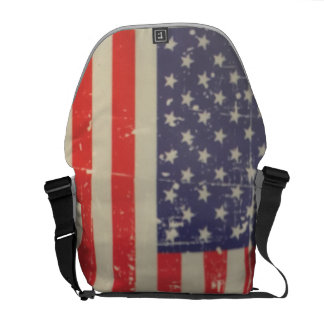 Weathered, Distressed American USA Flag Commuter Bags