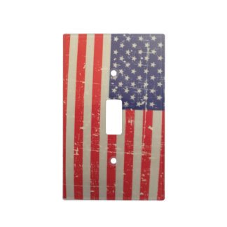 Weathered, Distressed American USA Flag Light Switch Cover