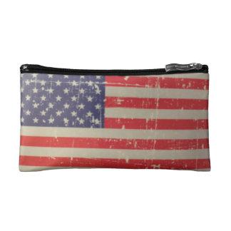 Weathered, Distressed American USA Flag Makeup Bag